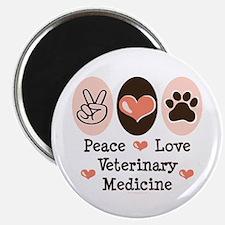 Peace Love Veterinary Medicine Magnet