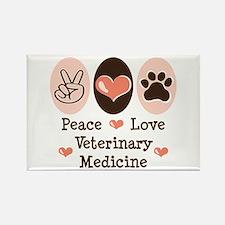 Peace Love Veterinary Medicine Rectangle Magnet