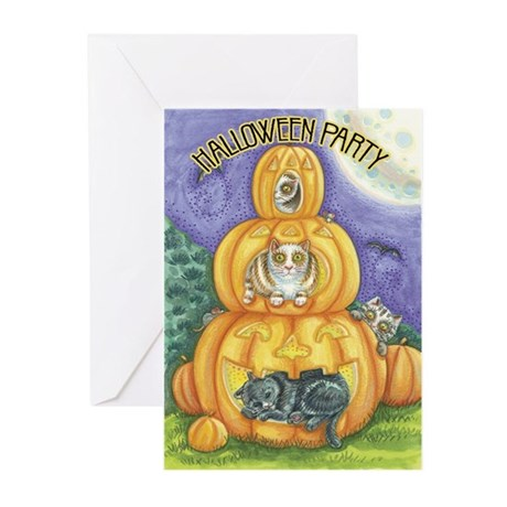 Cats in Pumpkins Greeting Cards (Pk of 10)