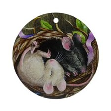 Cute Mice in a Nest Ornament (Round)