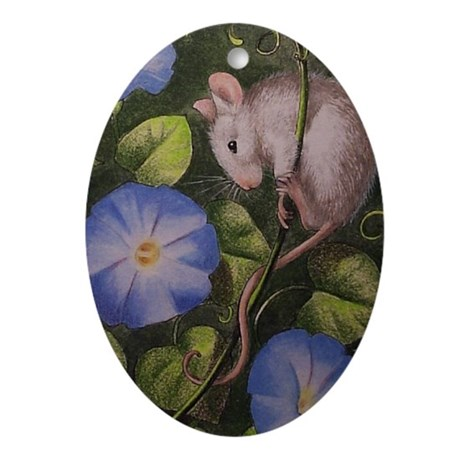 Mouse and Morning Glories Oval Ornament