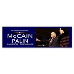 McCain Palin Incontinence Incompetence (Sticker)