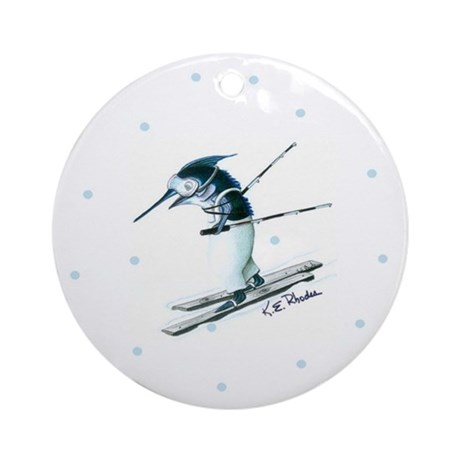 Marlin Skiing Ornament (Round)