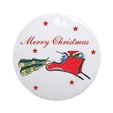 Christmas Fish Sleigh Ornament (Round)