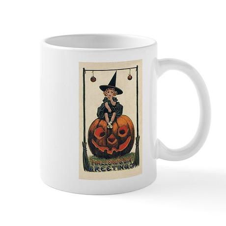 Vintage Halloween Pumpkin Girl Mug