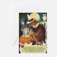 Halloween Witch with Pumpkin Greeting Card
