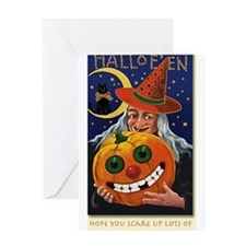 Vintage Witch with Smiling Pu Greeting Card