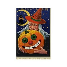 Vintage Witch with Smiling Pu Rectangle Magnet