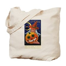 Vintage Witch with Smiling Pu Tote Bag