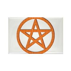 Pentagram Orange Gingham Rectangle Magnet