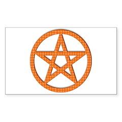 Pentagram Orange Gingham Rectangle Decal