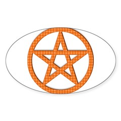 Pentagram Orange Gingham Oval Sticker (50 pk)
