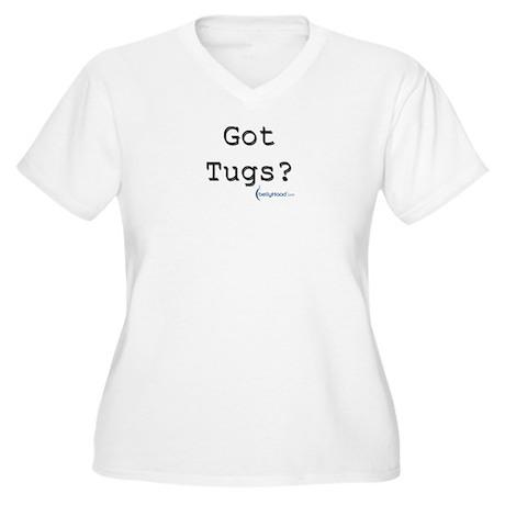 Women's Plus Size V-Neck T-Shirt - [got tugs?]