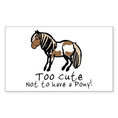 Too Cute Pony Rectangle Sticker