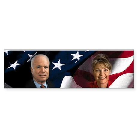 McCain Palin Flag Bumper Sticker