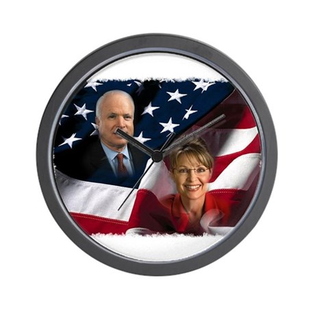 McCain Palin Flag Wall Clock
