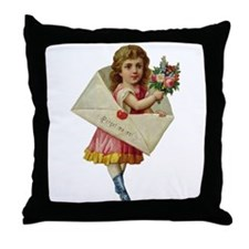 Envelope Girl Throw Pillow