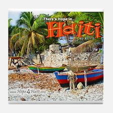 'Fishing Boats & Wall' Tile Coaster