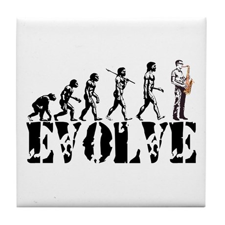 Sax Saxophone Evolution Tile Coaster
