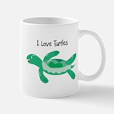 Green I Love Turtles Mug