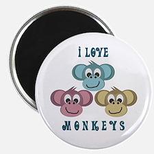 """I love Monkeys Retro Style 2.25"""" Magnet (10 pack)"""
