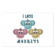 I love Monkeys Retro Style Postcards (Package of 8