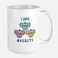 I love Monkeys Retro Style Large Mug