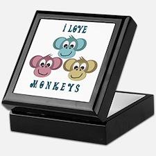 I love Monkeys Retro Style Keepsake Box