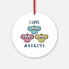 I love Monkeys Retro Style Keepsake (Round)