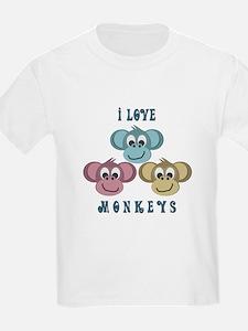I love Monkeys Retro Style Kids T-Shirt
