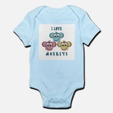 I love Monkeys Retro Style Infant Creeper