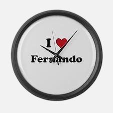 I love Fernando Large Wall Clock