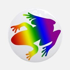 Rainbow Gay Pride Frog Ornament (Round)