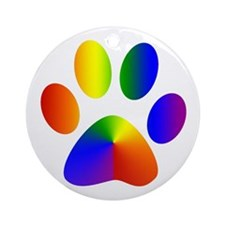 Rainbow Gay Pride Dog Paw Ornament (Round)