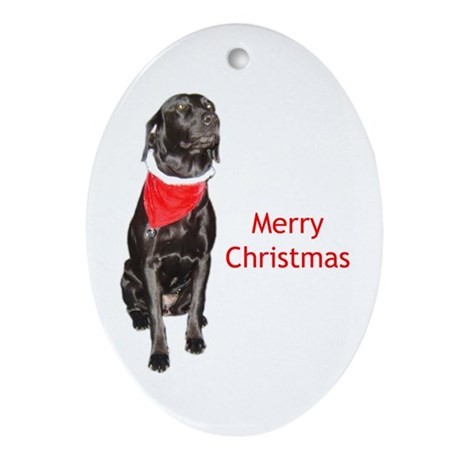 merry Christmas lab Oval Ornament
