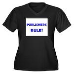Publishers Rule! Women's Plus Size V-Neck Dark T-S