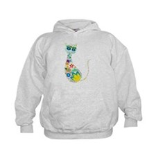Flowers Kitty Cat Hoodie