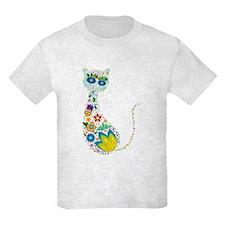 Flowers Kitty Cat T-Shirt
