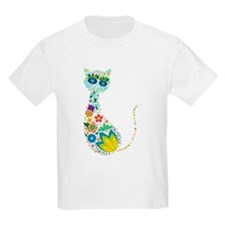 Flowers Kitty Cat T-Shirt