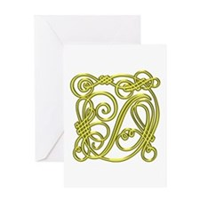 Gold Scroll D - Greeting Card
