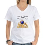 Wed. Mad Flaming Bowling Ball Women's V-Neck T-Shi