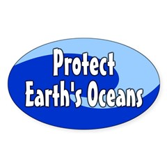 Protect Earth's Oceans Oval Decal