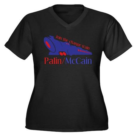 McCain Train Women's Plus Size V-Neck Dark T-Shirt
