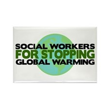 Social Workers Stop Global Warming Rectangle Magne