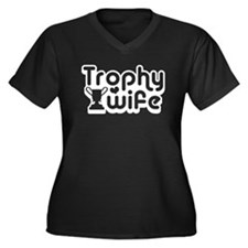 Trophy Wife Women's Plus Size V-Neck Dark T-Shirt