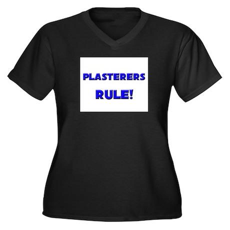 Plasterers Rule! Women's Plus Size V-Neck Dark T-S