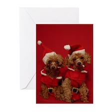 Santa Poodle Greeting Cards (Pk of 10)