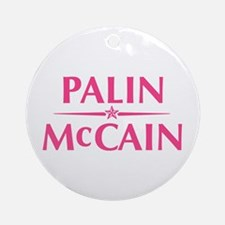 Palin McCain Pink Text Ornament (Round)