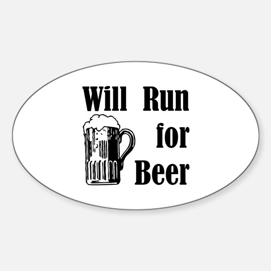 Will Run for Beer Oval Decal