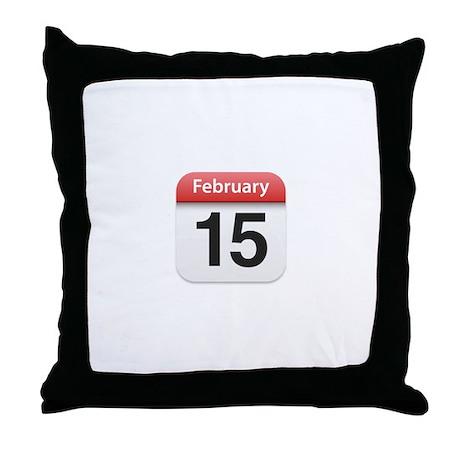 Apple iPhone Calendar February 15 Throw Pillow